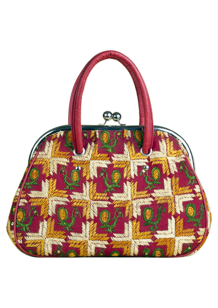 Red  with Multi Color Silk Thread  Hand Bag