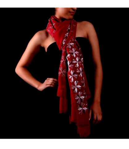 Red Color Chiffon Scarf - PH026