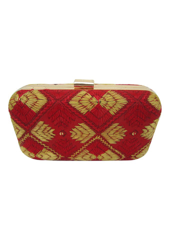 Red and Gold Color Silk Thread Wallet - PH047