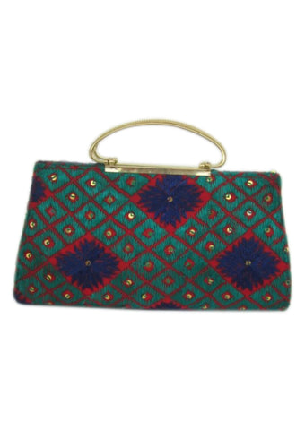 Multi Color Silk Thread and Satin Wallet - PH051