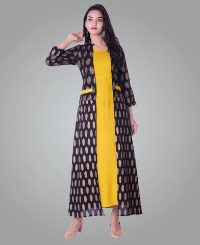 Yellow Color Rayon Women's Ankle Length Stitched Kurti - PISJ01-Mustard