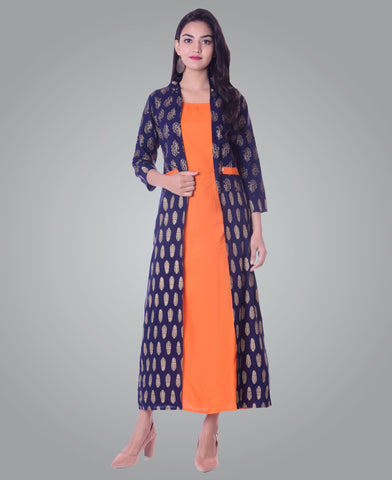 Orange Color Rayon Women's Ankle Length Stitched Kurti - PISJ01-Orange