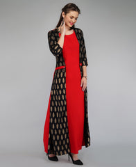 Buy Red Color Rayon Women's Ankle Length Stitched Kurti