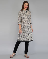 Buy Black Color Cotton Women's Knee Length Stitched Kurti