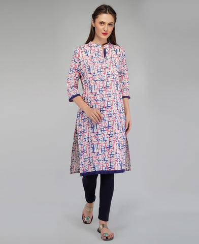 Blue Color Cotton Women's Knee Length Stitched Kurti - PISJ02-Blue