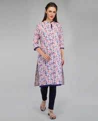 Buy Blue Color Cotton Women's Knee Length Stitched Kurti
