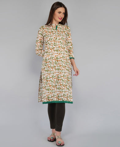 Green Color Cotton Women's Knee Length Stitched Kurti - PISJ02-Green