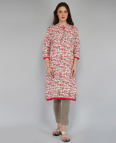 Red Color Cotton Women's Knee Length Stitched Kurti - PISJ02-Red
