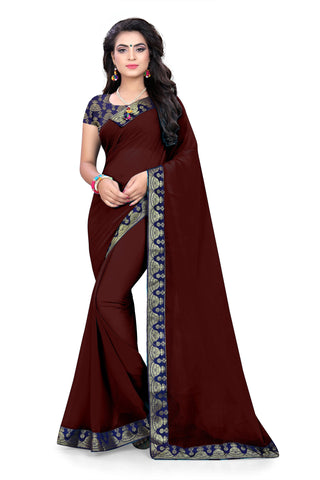Brown Color Chiffon Designer Saree - PISTA-03