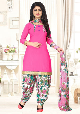 Pink Color crepe  UnStitched Salwar  - PJM27