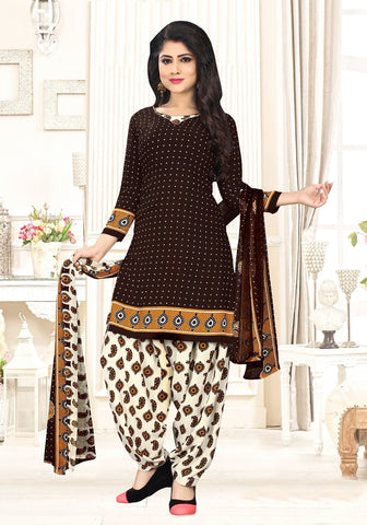 Brown Color crepe  UnStitched Salwar  - PJM28