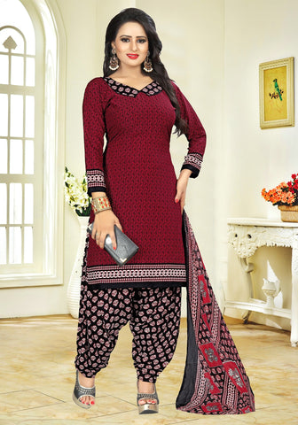 Maroon Color crepe  UnStitched Salwar  - PJM41
