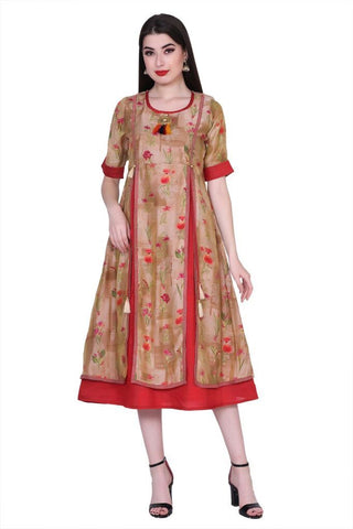 Red Color Cotton Women's Stitched Kurti - PK-1004-Red