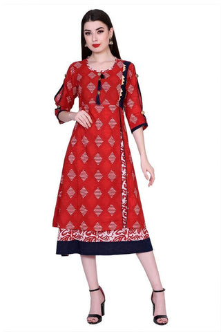 Red Color Cotton Women's Stitched Kurti - PK-1010-Red