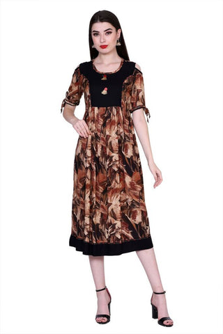Brown Color Cotton Women's Stitched Kurti - PK-1011-Brown