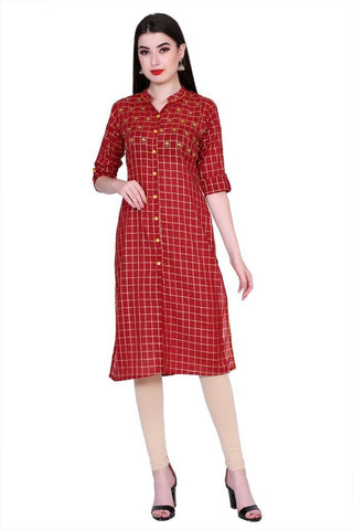 Red Color Cotton Women's Stitched Kurti - PK-1012-Red