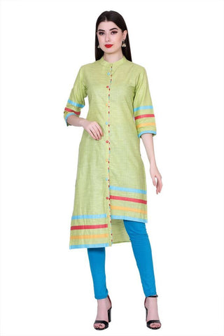Green Color Cotton Women's Stitched Kurti - PK-1013-Green