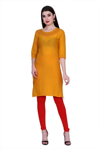 Orange Color Cotton Women's Stitched Kurti - PK-1015-Orange