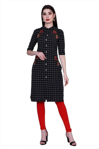 Black Color Cotton Women's Stitched Kurti - PK-1016-Black