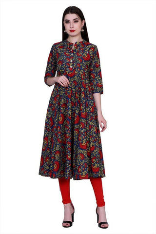 Multi Color Cotton Women's Stitched Kurti - PK-1017-Multi