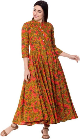 Mustard Color Cotton Women's Stitched Kurti - PK-1017-Mustard