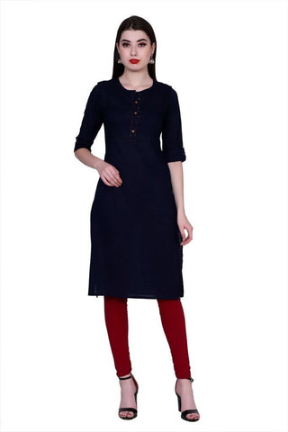 Navy Blue Color Cotton Women's Stitched Kurti - PK-1020-Navy Blue