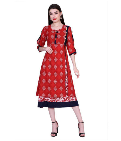 Red Color Cotton Women's Stitched Kurti - PK1010RED