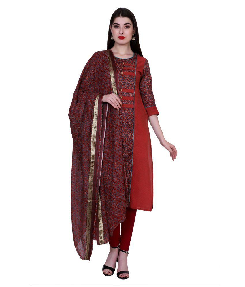 Buy Maroon Color Chanderi Women's Stitched Kurti