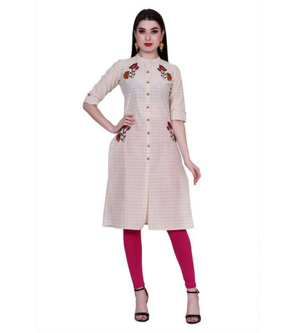 Off White Color Cotton Women's Stitched Kurti - PK1042OFFWHITE