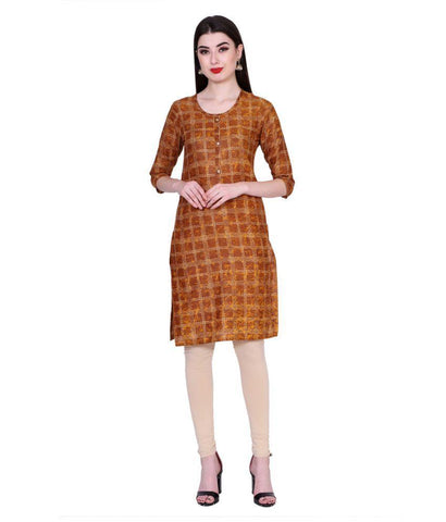 Brown Color Cotton Women's Stitched Kurti - PK7001BROWN
