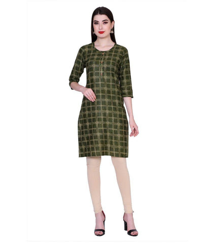 Green Color Cotton Women's Stitched Kurti - PK7001GREEN