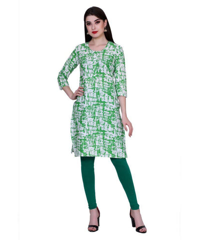 Green Color Cotton Women's Stitched Kurti - PK7004GREEN