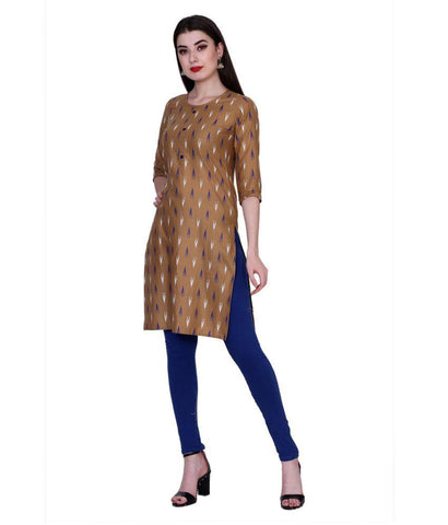 Brown Color Cotton Women's Stitched Kurti - PK7005BROWN