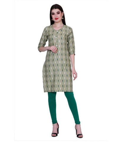 Green Color Cotton Women's Stitched Kurti - PK7005OLIVEGREEN