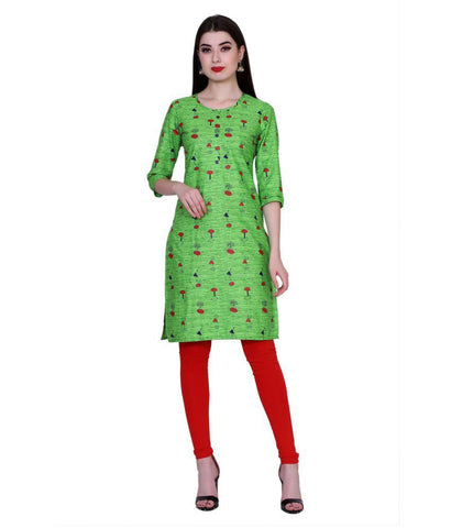 Green Color Cotton Women's Stitched Kurti - PK7008GREEN