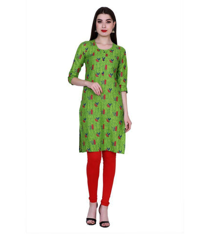 Green Color Cotton Women's Stitched Kurti - PK7009GREEN