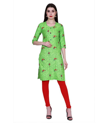 Green Color Cotton Women's Stitched Kurti - PK7010GREEN
