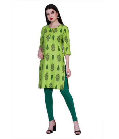 Green Color Cotton Women's Stitched Kurti - PK7011GREEN