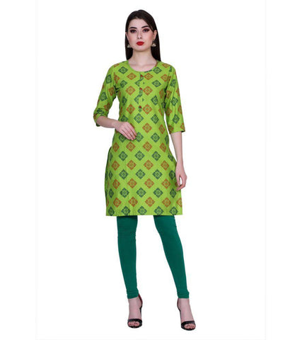 Green Color Cotton Women's Stitched Kurti - PK7012GREEN