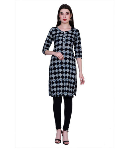 Black Color Cotton Women's Stitched Kurti - PK7014BLACK