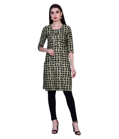 Black Color Cotton Women's Stitched Kurti - PK7015GREEN