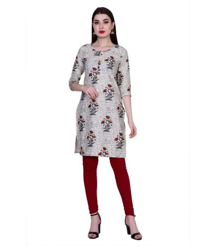 Grey Color Cotton Women's Stitched Kurti - PK7016GRAY