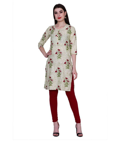 Beige Color Cotton Women's Stitched Kurti - PK7016GREEN
