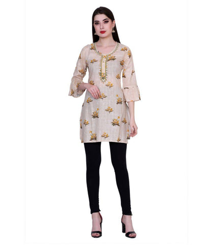 Off White Color Cotton Women's Stitched Kurti - PK7020OFFWHITE