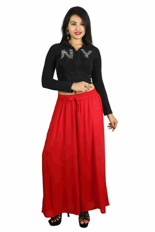 Red Color Rayon Plazoo - PL01
