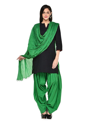 Dark Green Color Cotton Women's Patiala - PLA0015