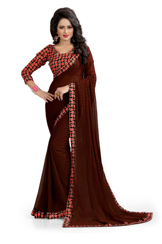 Brown Color Chiffon Designer Saree - PLAIN-03