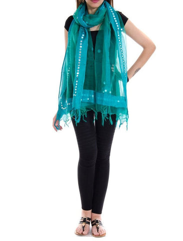 Turquoise Color Chanderi Tissue Net Dupatta - PLM01