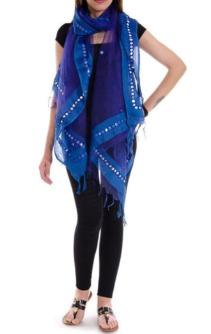 Blue Color Chanderi Tissue Net Dupatta - PLM02