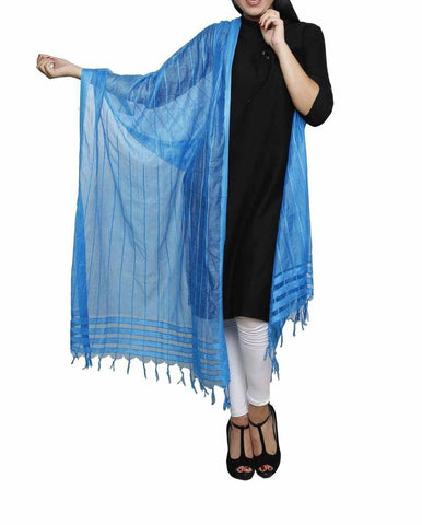 Sky Blue Color Chanderi Tissue Net Dupatta - PLM03